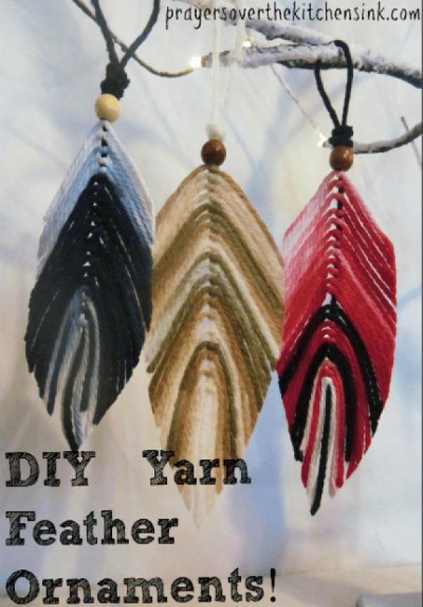DIY Yarn Feather Ornament Craft